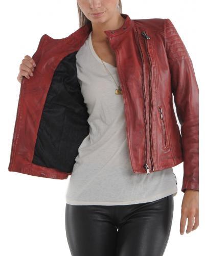 Blouson femme en cuir rouge style motard de Redskins