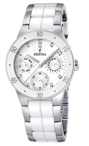 Montre FESTINA, tour de bras acier et céramique blanche à 159 euros